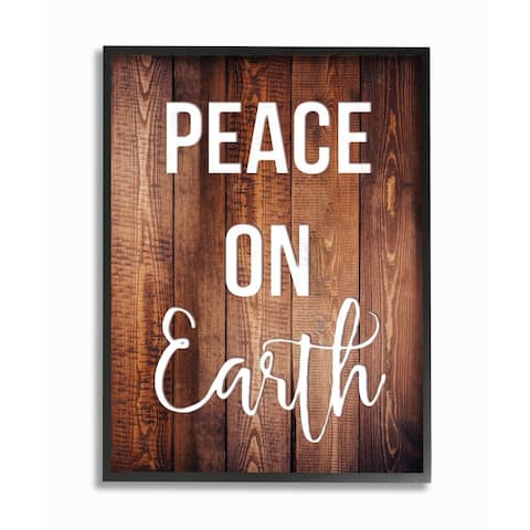 Peace On Earth Distressed Wood Typography Framed Giclee Art