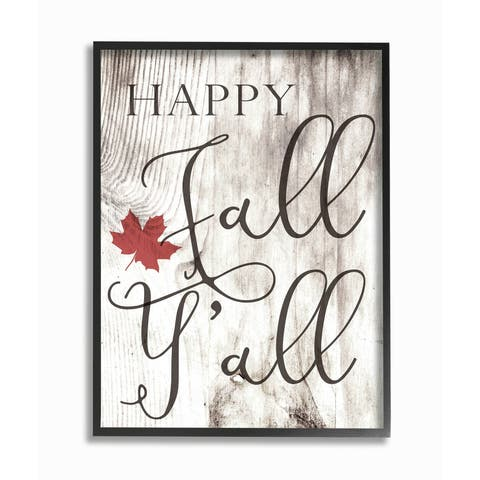 Happy Fall Y'all Typography Sign Framed Giclee Texturized Art