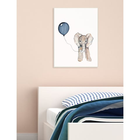 Baby Elephant with Blue Balloon Wall Plaque Art - 10 x 15