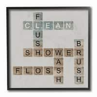 Scrabble Bathroom Illustration Framed Giclee Texturized Art