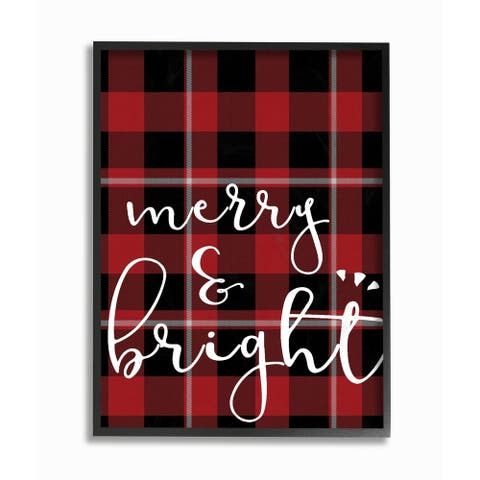 Merry & Bright Plaid Typography Framed Giclee Texturized Art