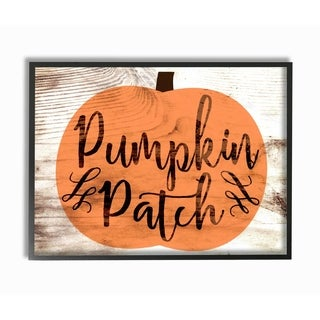 Pumpkin Patch Halloween Typography Framed Giclee Texturized Art