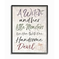 A Witch, Little Monsters, and a Handsome Devil Framed Giclee Art
