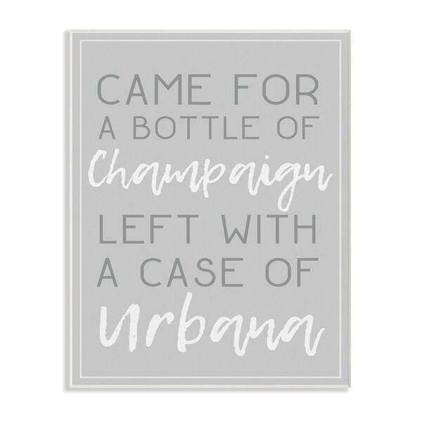Champaign Urbana Light Grey Typography Wall Plaque Art - 10 x 15