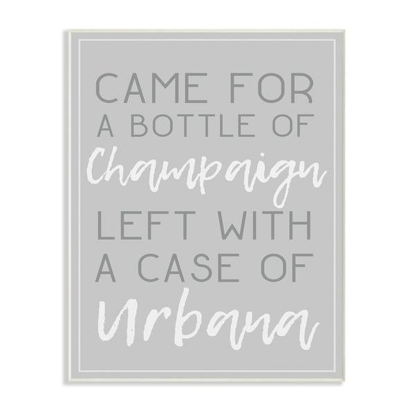 Champaign Urbana Light Grey Typography Wall Plaque Art