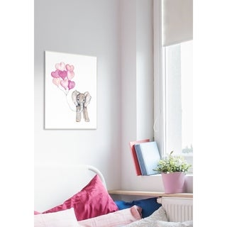 Baby Elephant with Pink Heart Balloons Wall Plaque Art