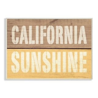 California Sunshine Distressed Wood Typography Wall Plaque Art