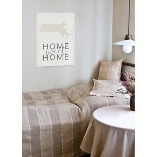Home Sweet Home Massachusetts Typography Wall Plaque Art