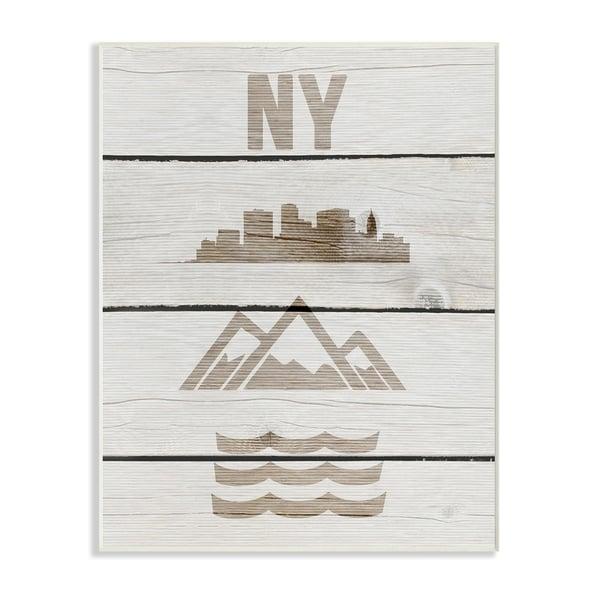 NYC Symbols Distressed Wood Wall Plaque Art