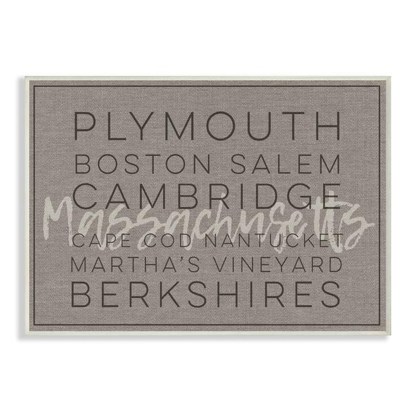 Massachusetts Berkshires Boston Salem Typography Wall Plaque Art