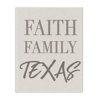 Faith Family Texas Typography Wall Plaque Art