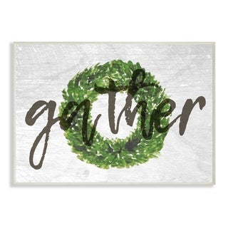 Gather Boxwood Wreath Typography Wall Plaque Art