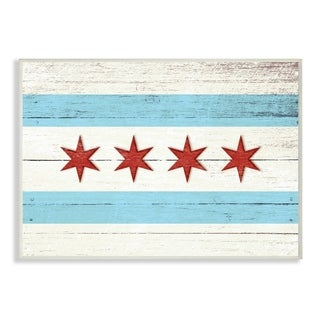 Chicago Flag Distressed Wood Look Wall Plaque Art