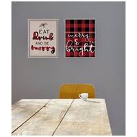 Merry & Bright Plaid Typography Wall Plaque Art