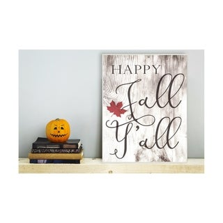 Happy Fall Y'all Typography Sign Wall Plaque Art - 10 x 15