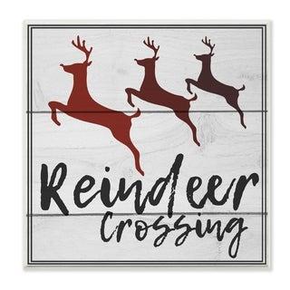 Reindeer Crossing Sign Wall Plaque Art