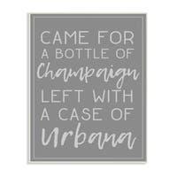 Champaign Urbana Dark Grey Typography Wall Plaque Art - 10 x 15