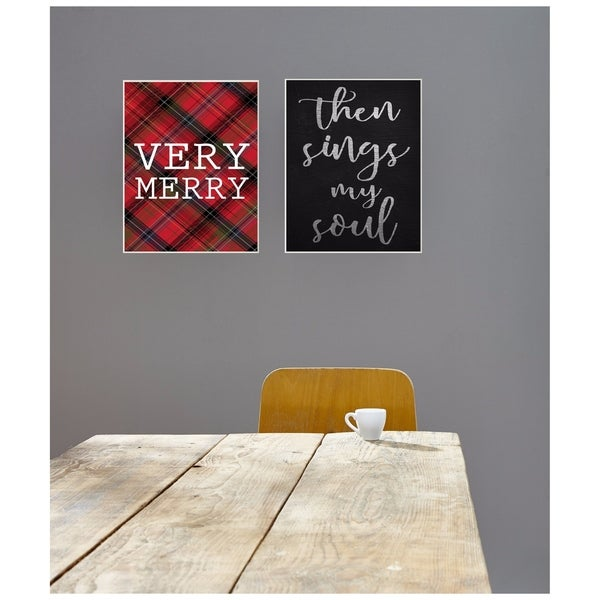 Very Merry Christmas Tartan Wall Plaque Art - 10 x 15