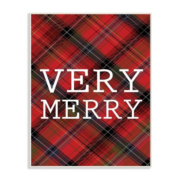 Very Merry Christmas Tartan Wall Plaque Art