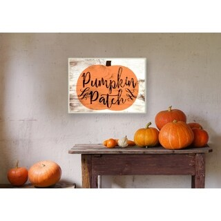 Pumpkin Patch Halloween Typography Wall Plaque Art - 10 x 15