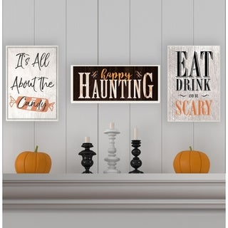 Happy Haunting Spooky Typography Wall Plaque Art