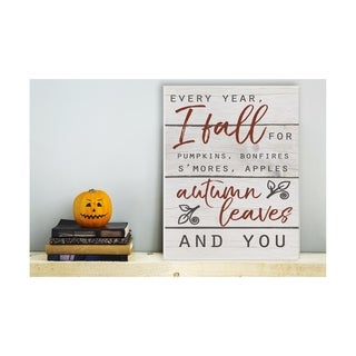 Every Year I Fall For You Red and Grey Typography Wall Plaque Art - 10 x 15