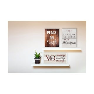Peace On Earth Distressed Wood Typography Wall Plaque Art