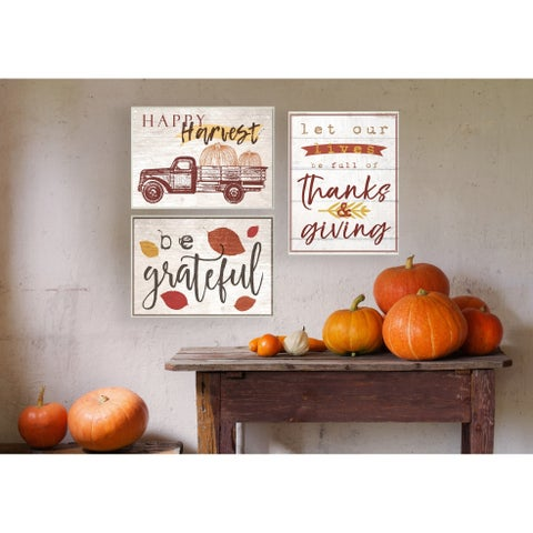 Be Grateful Fall Leaves Typography Wall Plaque Art - 10 x 15