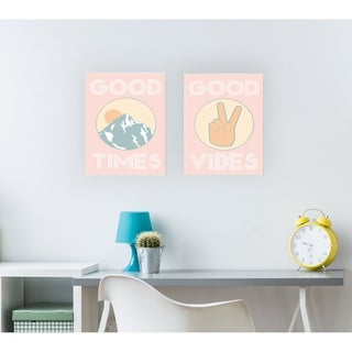 Good Vibes Peace Hand Pink Wall Plaque Art