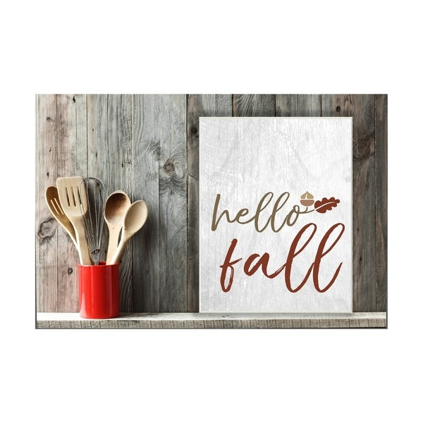 Hello Fall Oak Leaves and Acorn Wall Plaque Art