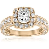 14k Yellow Gold 2 1/3ct Princess Cut Diamond Clarity Enhanced Engagement Ring Cushion Halo  (I-J, I2-I3)