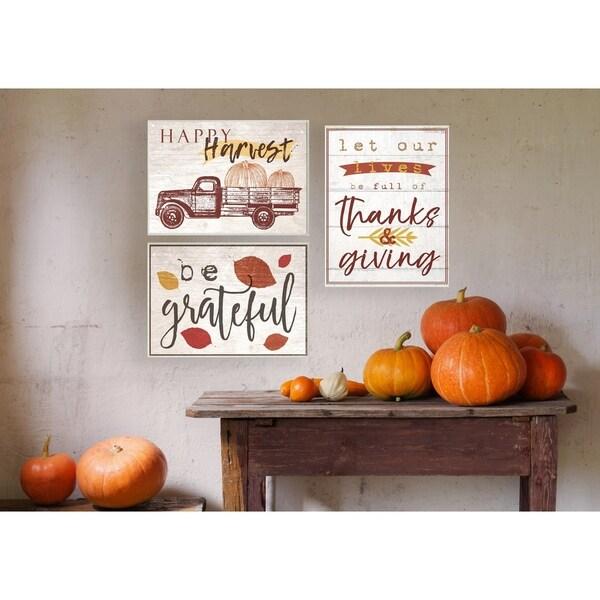 Happy Harvest Giant Pumpkin Truck Wall Plaque Art - 10 x 15