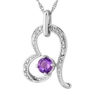 Sterling Silver Amethyst White Sapphire Heart Pendant - Purple