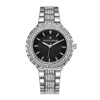 "Timothy Stone Women's ""Gala"" Swarovski Crystal Accented Quartz Silver-Tone with Black Dial Watch"