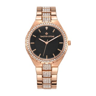 Women's 'Gala' Crystal Accented Stainless Steel Watch 38mm by Timothy Stone (Option: Black - Rose-Tone)
