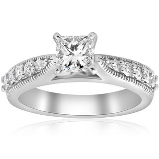 14K White Gold 1 3/8ct Vintage Princess Cut Diamond Clarity Enhanced Engagement Ring Art Deco  (H-I, I1-I2)