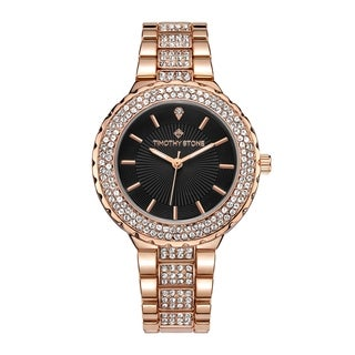 """Timothy Stone Women's """"Gala"""" Swarovski Crystal Accented Quartz Rose Gold-Tone with Black Dial Watch"""