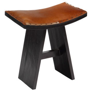 Handmade Asian Brown Cowhide Accent Stool (Bali)