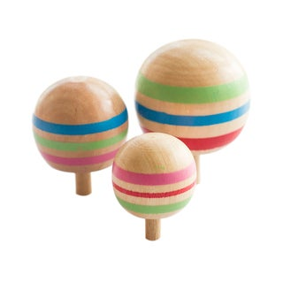 Wooden Novelty 3pcs Wooden Colorful Spinning Top Kids Wood Children's Party Toy