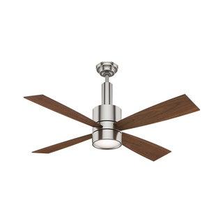 "Casablanca Fan 54""Bullet Brushed Nickel w/4 Walnut/Burnt Walnut Reversible Blades"
