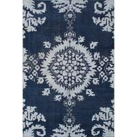 ECarpetGallery Hand-Knotted La Seda Blue  Wool,  Art Silk Rug (5'10 x 8'10) - 5' x 8'