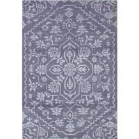 ECarpetGallery Hand-Knotted La Seda Grey  Wool,  Art Silk Rug (5'0 x 7'6)