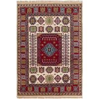ECarpetGallery Hand-Knotted Royal Kazak Ivory, Red  Wool Rug (4'8 x 6'8)