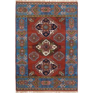 ECarpetGallery Hand-Knotted Royal Kazak Brown  Wool Rug (5'4 x 7'7)