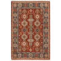 ECarpetGallery Hand-Knotted Royal Kazak Brown  Wool Rug (4'1 x 6'0)