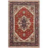 ECarpetGallery Hand-Knotted Serapi Heritage Red Wool Rug - 5' x 8'