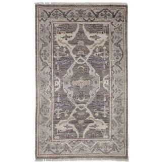 ECarpetGallery Hand-Knotted Jules Ushak Brown Art Silk Rug (2'11 x 5'1)