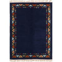 ECarpetGallery Hand-Knotted Caucasus Kula Blue  Wool Rug (5'0 x 7'2)