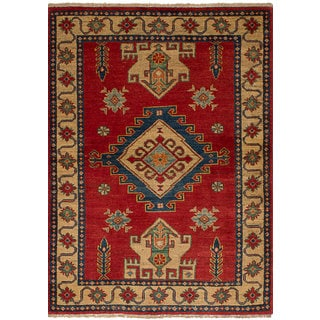 ECarpetGallery Hand-Knotted Finest Gazni Red  Wool Rug (3'4 x 4'8)