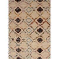 ECarpetGallery Hand-Knotted Sari Silk Ivory  Wool,  Art Silk Rug (5'4 x 7'6)